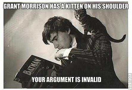 Grant-morrison-has-a-kitten-on-his-shoulder